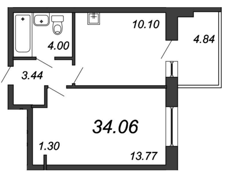 Планировка Однокомнатная квартира площадью 34.06 кв.м в ЖК «Мурино 2019»