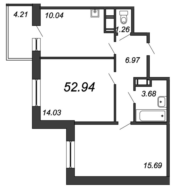Планировка Двухкомнатная квартира площадью 52.94 кв.м в ЖК «Мурино 2019»