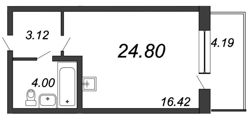 Планировка Студия площадью 24.8 кв.м в ЖК «Мурино 2019»