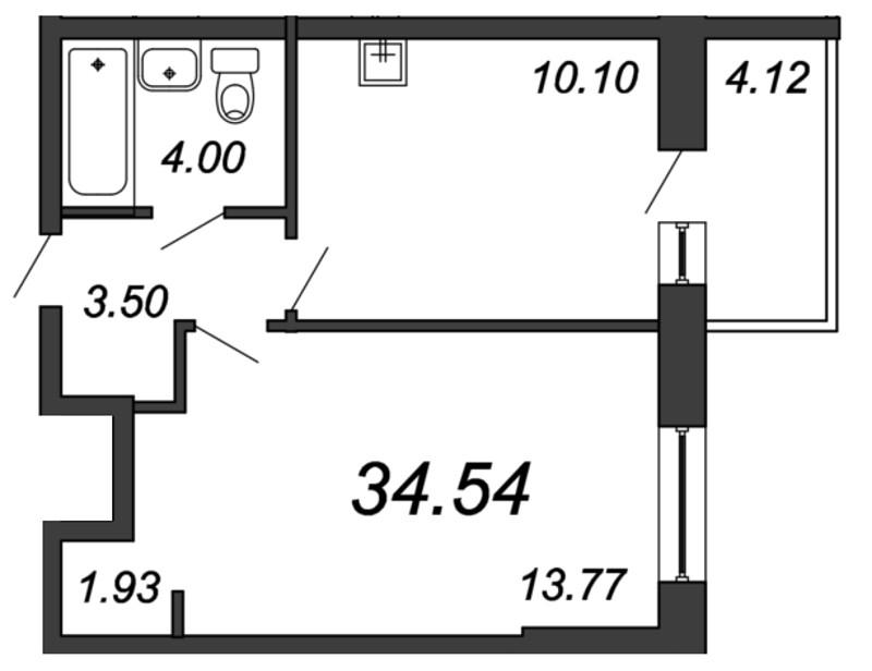 Планировка Однокомнатная квартира площадью 34.54 кв.м в ЖК «Мурино 2019»