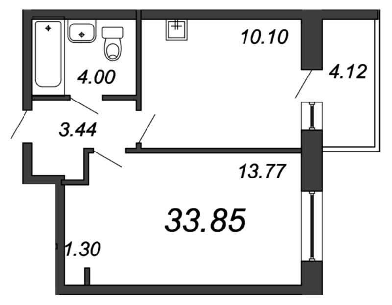 Планировка Однокомнатная квартира площадью 32.61 кв.м в ЖК «Мурино 2019»