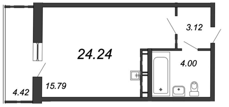 Планировка Студия площадью 22.91 кв.м в ЖК «Мурино 2019»