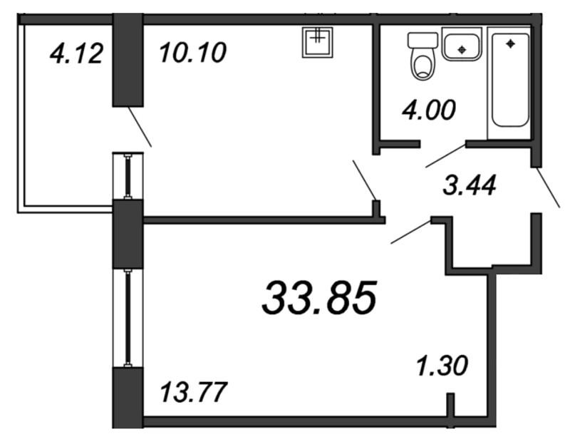 Планировка Однокомнатная квартира площадью 33.85 кв.м в ЖК «Мурино 2019»