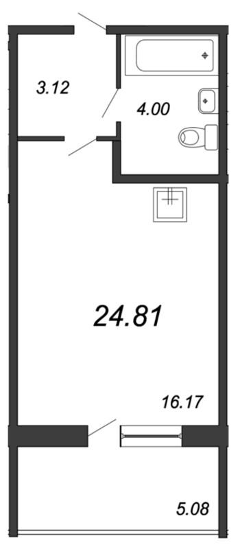 Планировка Студия площадью 24.81 кв.м в ЖК «Мурино 2019»