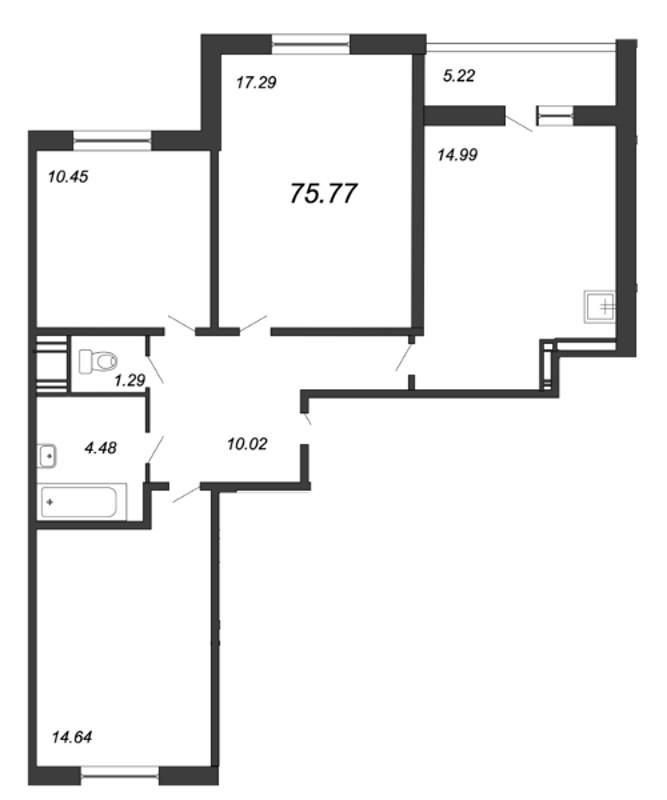 Планировка Трёхкомнатная квартира площадью 75.77 кв.м в ЖК «Мурино 2019»