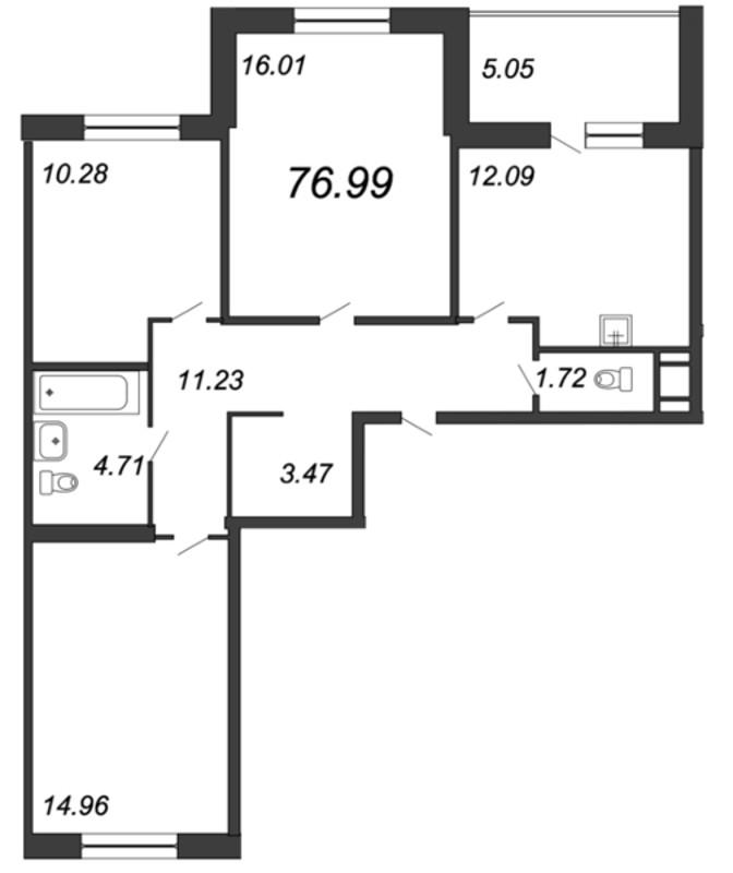 Планировка Трёхкомнатная квартира площадью 76.99 кв.м в ЖК «Мурино 2019»