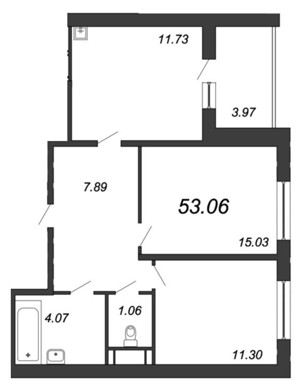 Планировка Двухкомнатная квартира площадью 53.06 кв.м в ЖК «Мурино 2019»