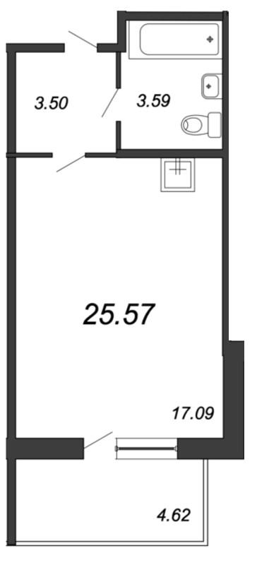 Планировка Студия площадью 25.57 кв.м в ЖК «Мурино 2019»